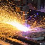 CNC Plasma Cutting Head With Sparks