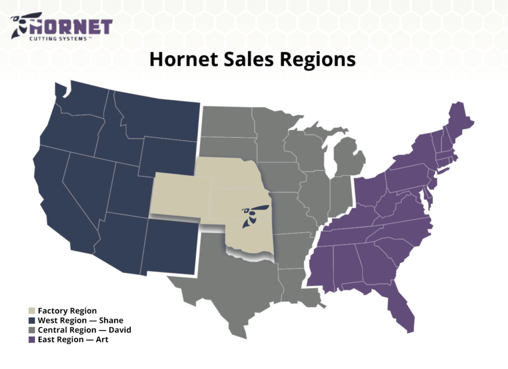 Hornet Cutting Systems Sales Regions Map